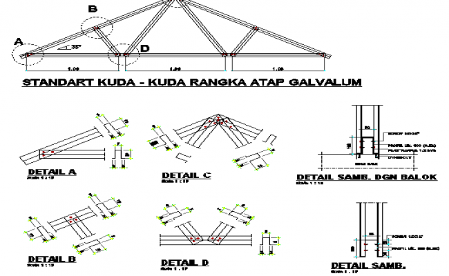 Roof construction details of shopping center details dwg file