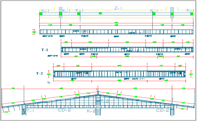 Roof construction details with beam of classroom dwg file