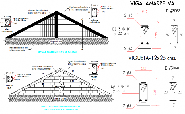 Roof construction details with cover dwg file