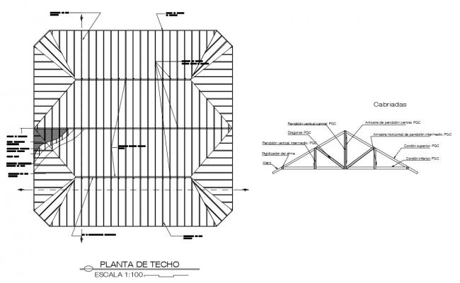 Roof covering and structural details 2d view dwg file