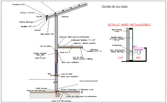 Roof cylinder wood sectional view