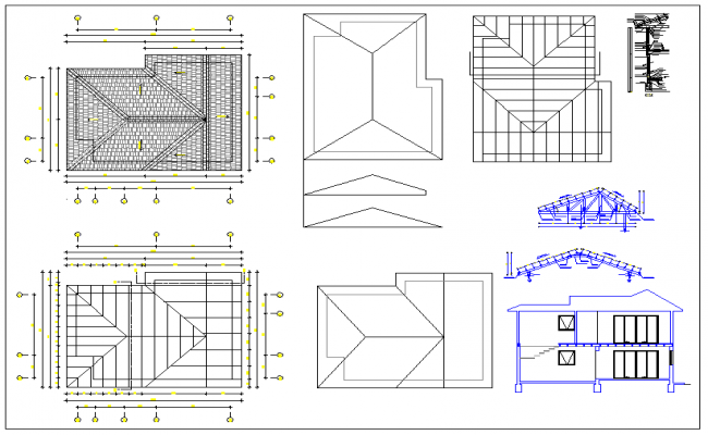 Roof detail of residential house dwg file