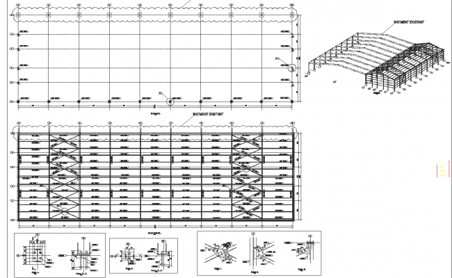 Roof elevation and plan detail dwg file