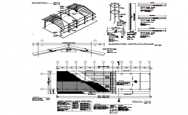 Roof elevation and plan working plan detail dwg file
