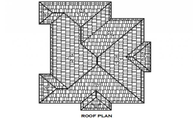 Roof elevation plan detail dwg file