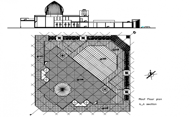 Mosque Roof Plan In AutoCAD Drawings