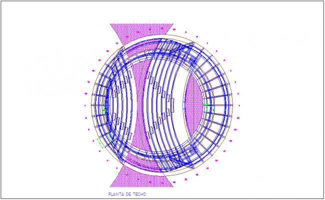 Roof floor plan of amphitheater dwg file