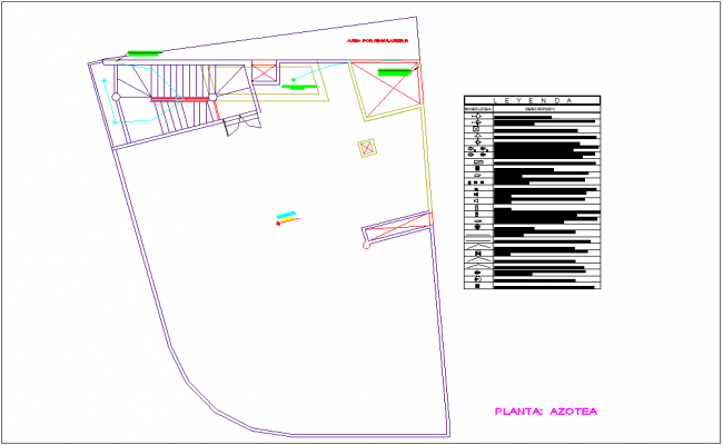 Roof floor plan of electrical installation for commercial building dwg file