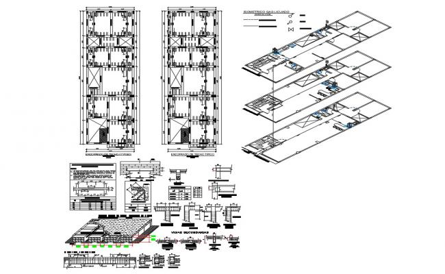 Roof framing, ceiling structure and construction details of house building dwg file
