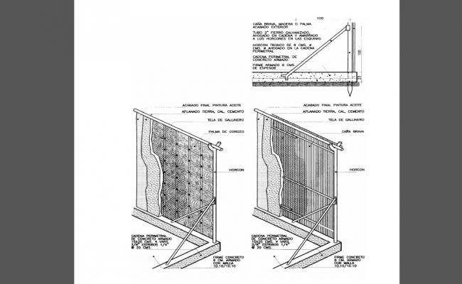 Roof house grass wall structure cad drawing details dwg file