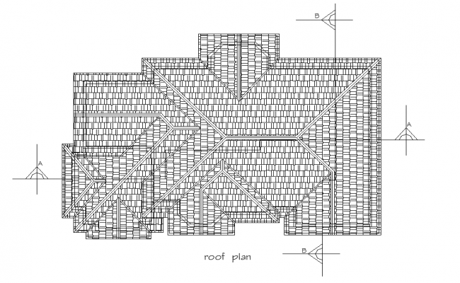 Roof house plan autocad file