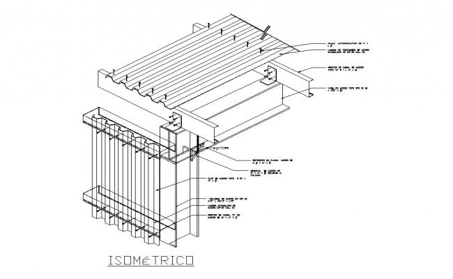 Roof isometric structure and construction details dwg file