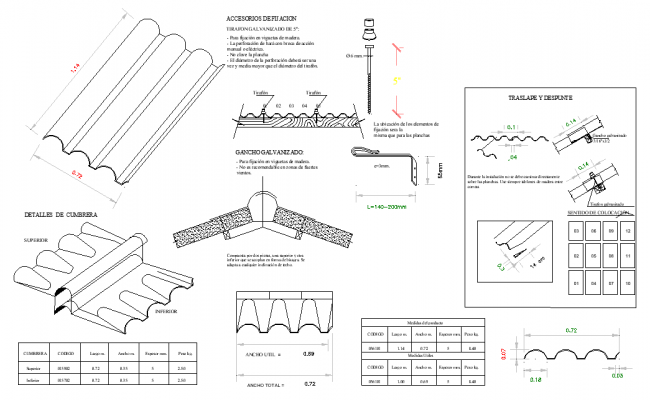 Roof material section detail autocad file