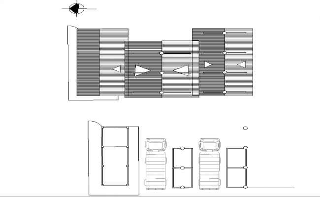 Roof plan and car parking plan autocad file