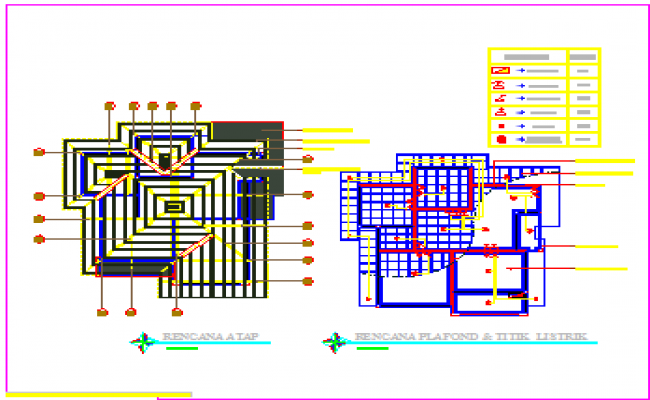Roof plan and electric plan design drawing of single family house design.