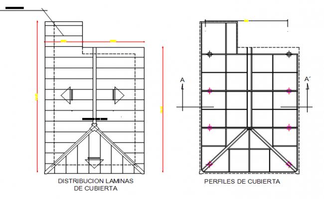 Elevation Plan Description : Roof plan and elevation detail dwg file