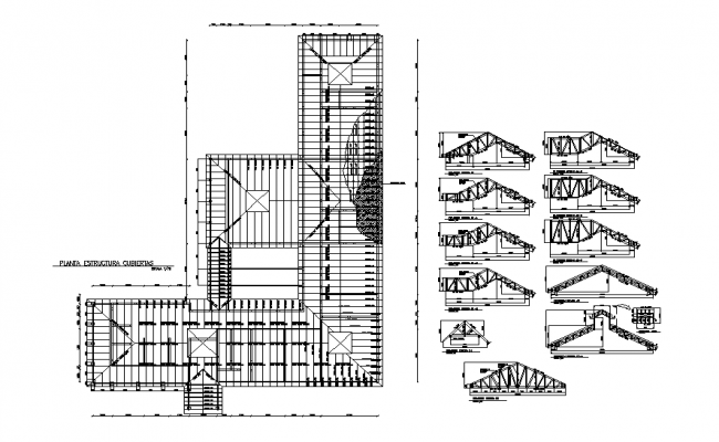 Roof plan and elevation detail dwg file