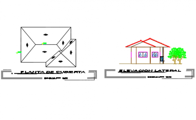 Roof plan and lateral elevation detail dwg file