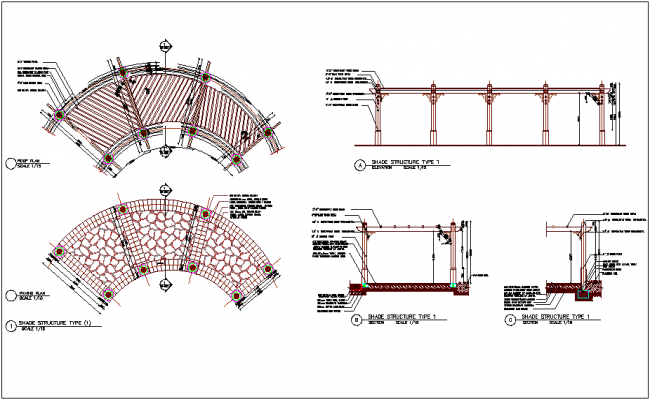 Roof plan and paving plan with shade structure dwg file