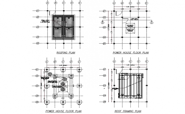 Roof plan and power house floor plan detail autocad file