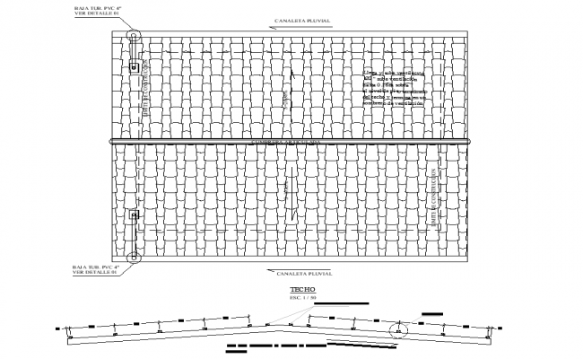 Roof plan and section detail dwg file