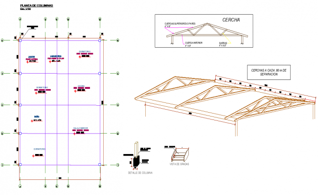 Roof plan and section detail layout file