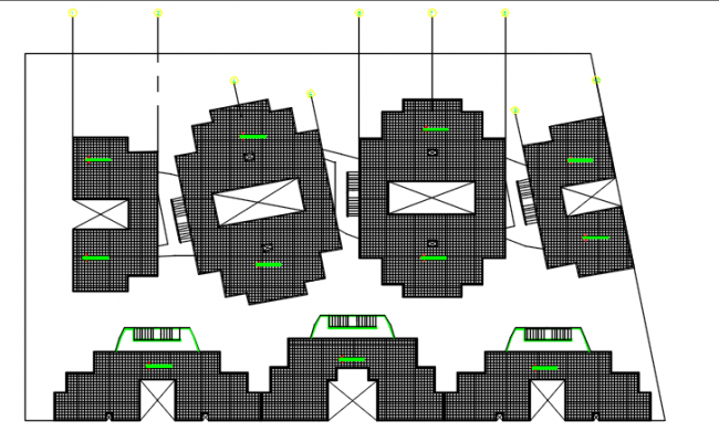 Roof plan and section plan detail dwg file,