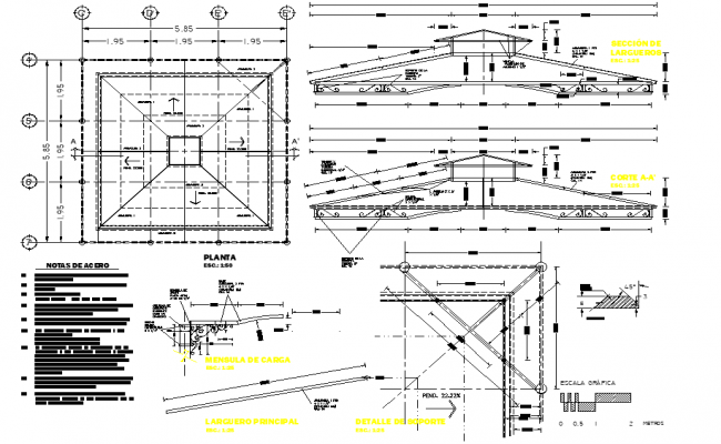 Roof plan and section plan detail dwg file