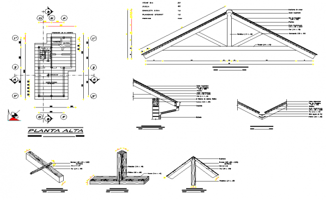Roof plan and section plan layout file