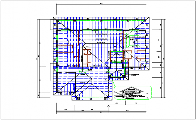 Roof plan design and plan layout view in detail dwg file