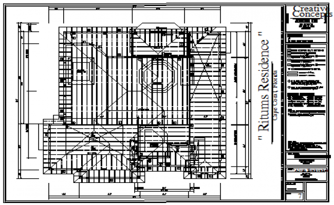 Roof plan design drawing of housing design