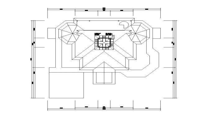 Roof plan of a building detail 2d view layout autocad file