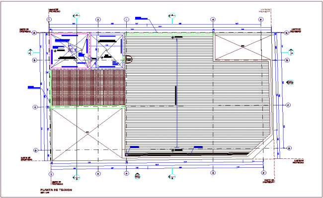 Roof plan of bank design with architectural view dwg file