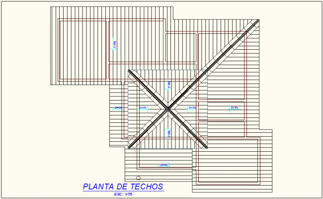 Roof plan of education building dwg file