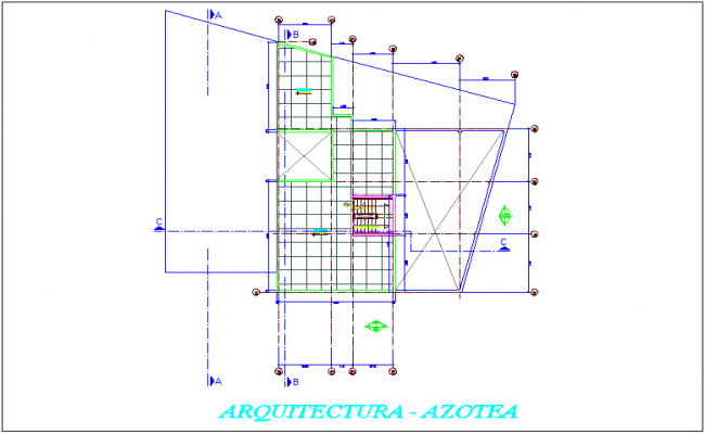 Roof plan of government building dwg file