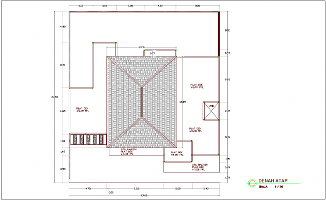 Roof plan of office area with architectural view dwg file