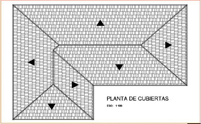 Roof plan of office with architecture view dwg file