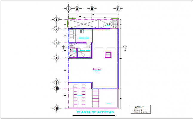 Roof plan of residence area with view architectural view-1 dwg file