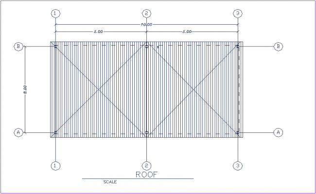 Roof plan wall support construction view for poultry processing unit dwg file