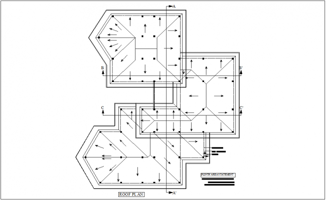 Roof plan with construction view with detail of area for engineer office design dwg file