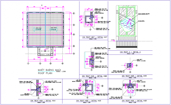 Roof plan with detail for office design dwg file