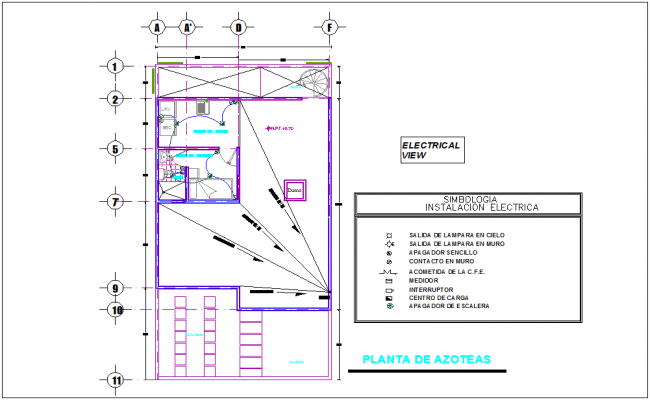 Roof plan with electrical installation view with legend for house dwg file