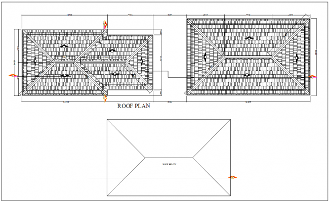 Roof plan with view of commercial area for computer business center dwg file