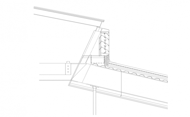 Roof section detail structure 2d view layout file