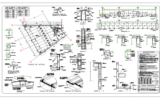 Roof Structure Plan In AutoCAD File