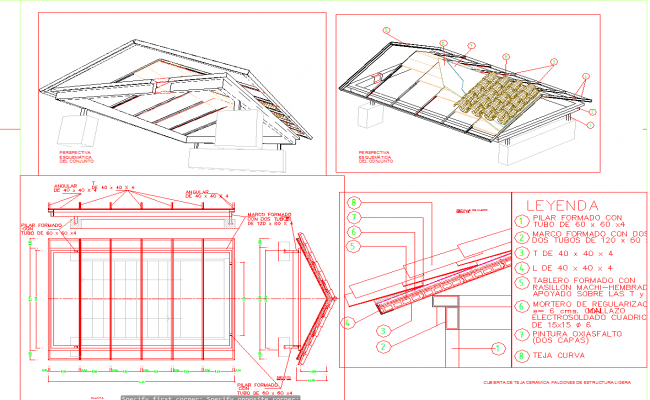 Roof sectional detail cad drawing