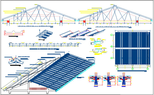 Roof structure and beam column plan elevation and section view detail dwg file