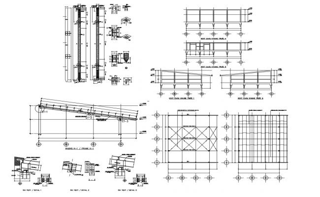 Roof structure layout in dwg file