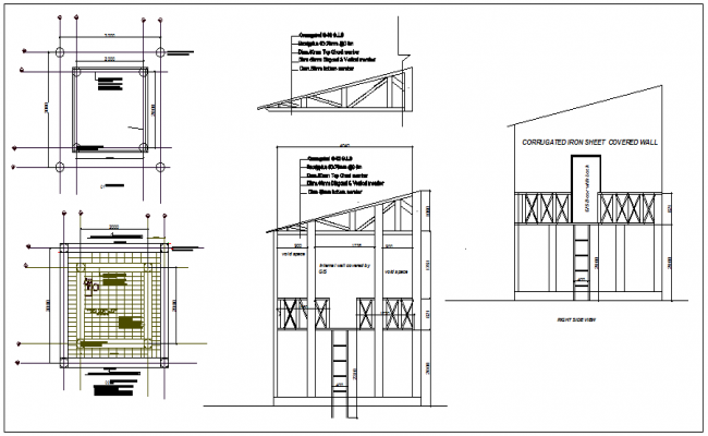 Roof structure section and plan view detail dwg file