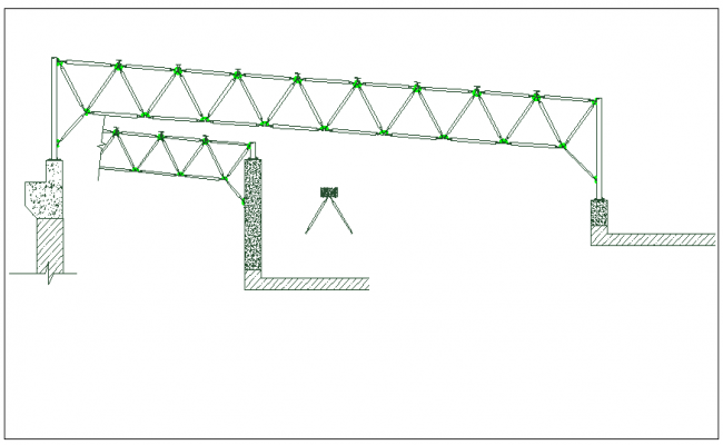 Roof structure section plan view dwg file